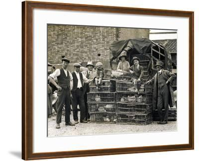 Market Vendors with Chickens--Framed Photographic Print