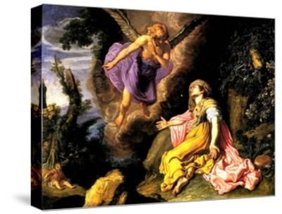 Hagar and the Angel, 1614-Pieter Lastman-Stretched Canvas Print