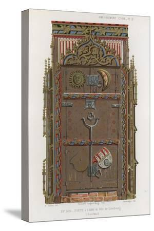 Door in the Town Hall of the Luneburg--Stretched Canvas Print