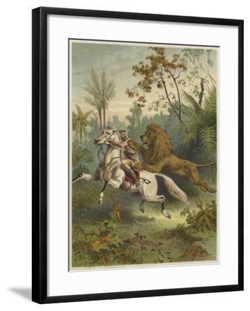 African Traveller Attacked by a Lion--Framed Giclee Print