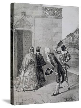 Scene from Comedy Liar-Carlo Goldoni-Stretched Canvas Print