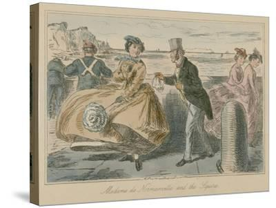 Madame De Normanville and the Squire-John Leech-Stretched Canvas Print