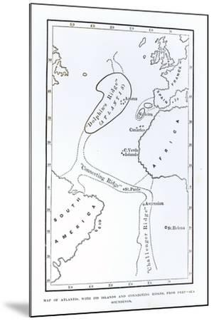 Map Showing the Position of Atlantis--Mounted Giclee Print