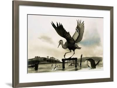An Otter Watches a Heron--Framed Giclee Print