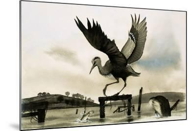 An Otter Watches a Heron--Mounted Giclee Print