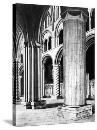 The Nave of Durham Cathedral, 19th Century--Stretched Canvas Print