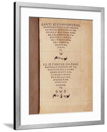 Title Page of Three Fates-Matteo Bandello-Framed Giclee Print