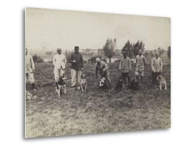 Dogs Being Exercised and Trained by French Soldiers--Metal Print
