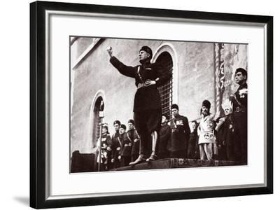 Mussolini Making a Speech--Framed Photographic Print