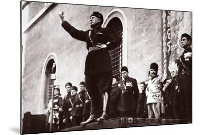 Mussolini Making a Speech--Mounted Photographic Print
