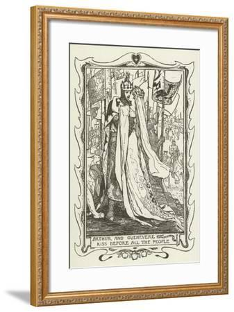 Arthur and Guenevere Kiss before All the People-Henry Justice Ford-Framed Giclee Print