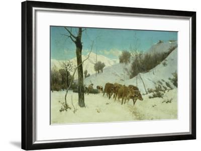 Oxen Dragging Log-Stefano Bruzzi-Framed Giclee Print