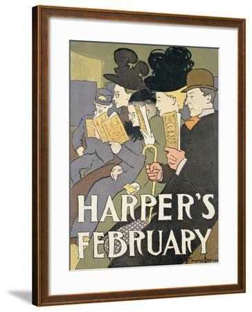 Harper's February, 1897-Edward Penfield-Framed Giclee Print