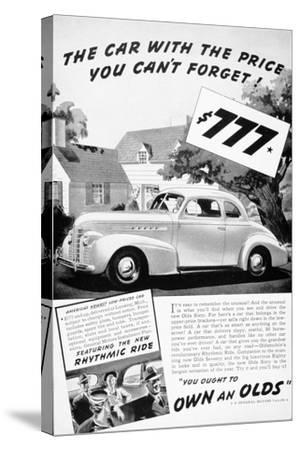 Advertisement for the Oldsmobile Olds Sixty, 1939--Stretched Canvas Print