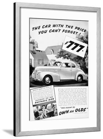 Advertisement for the Oldsmobile Olds Sixty, 1939--Framed Giclee Print