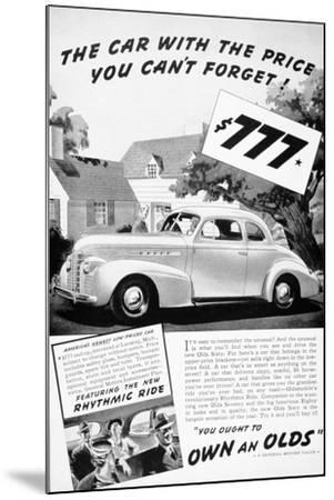 Advertisement for the Oldsmobile Olds Sixty, 1939--Mounted Giclee Print