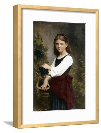 A Young Girl Holding a Basket of Grapes-Elizabeth Jane Gardner Bouguereau-Framed Giclee Print