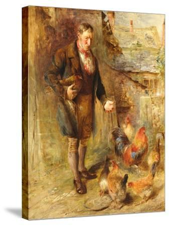Self Portrait Aged 38 with Chickens-William Huggins-Stretched Canvas Print