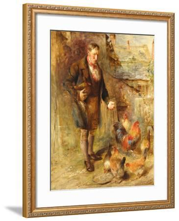 Self Portrait Aged 38 with Chickens-William Huggins-Framed Giclee Print