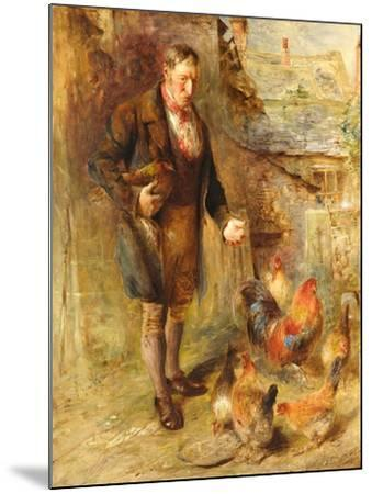 Self Portrait Aged 38 with Chickens-William Huggins-Mounted Giclee Print