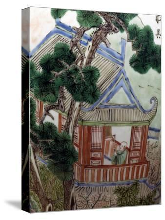 Pagoda in a Garden, Famille Verte--Stretched Canvas Print