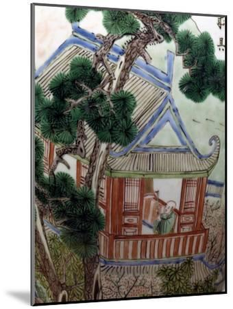 Pagoda in a Garden, Famille Verte--Mounted Giclee Print