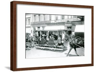 Horse-Drawn Tram in St. Petersburg, 1900s--Framed Photographic Print