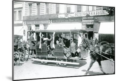 Horse-Drawn Tram in St. Petersburg, 1900s--Mounted Photographic Print