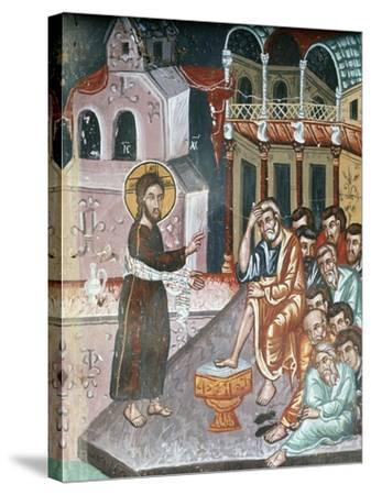 Jesus Washing the Disciples' Feet-Symeon Axenti-Stretched Canvas Print