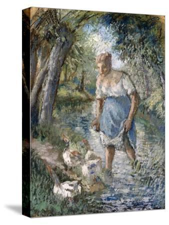 Peasant Crossing a Stream, C.1894-Camille Pissarro-Stretched Canvas Print