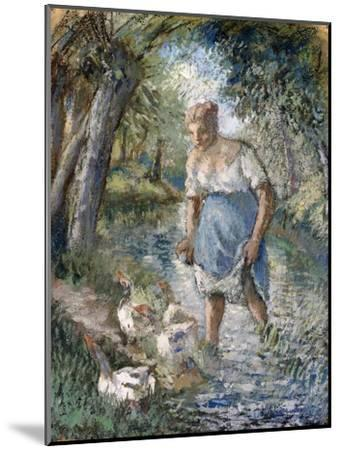 Peasant Crossing a Stream, C.1894-Camille Pissarro-Mounted Giclee Print