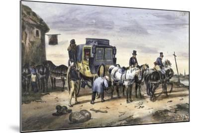 A Carriage Parked Outside an Inn--Mounted Giclee Print
