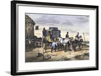 A Carriage Parked Outside an Inn--Framed Giclee Print