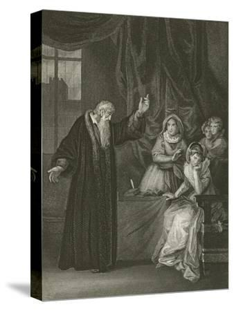 Mary Queen of Scots Reproved by Knox-Robert Smirke-Stretched Canvas Print