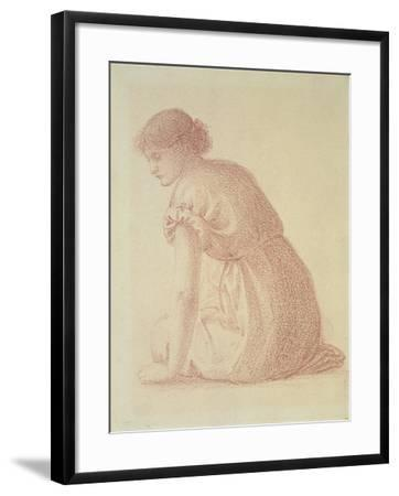 A Seated Figure of a Woman, 19th Century-Edward Burne-Jones-Framed Giclee Print