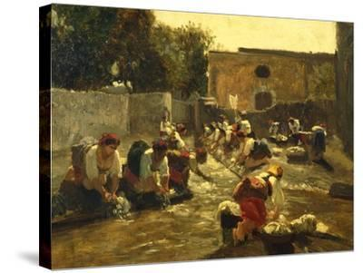 Women Washing in River-Filippo Palizzi-Stretched Canvas Print