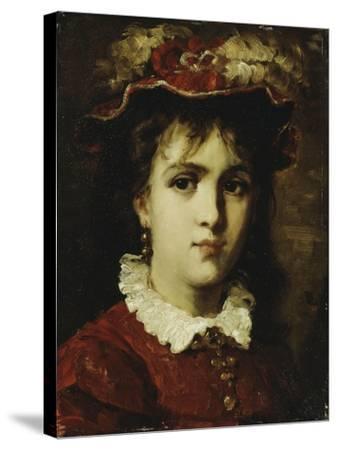 Portrait of a Young Girl, 1876-Leon Joseph Florentin Bonnat-Stretched Canvas Print