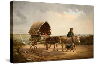 Mrs Ridout Leading Donkeys and a Cart-Frank Brooks-Stretched Canvas Print