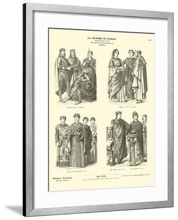 Byzantine Costumes, First Half of 6th Century--Framed Giclee Print