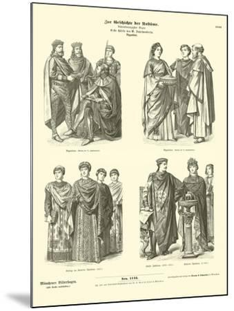 Byzantine Costumes, First Half of 6th Century--Mounted Giclee Print