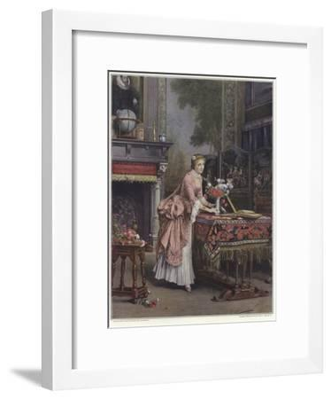 A Woman Placing a Vase of Flowers on a Table-Emile Pierre Metzmacher-Framed Giclee Print
