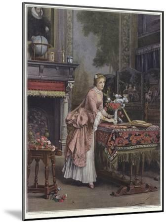 A Woman Placing a Vase of Flowers on a Table-Emile Pierre Metzmacher-Mounted Giclee Print