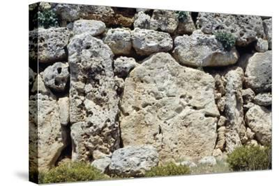 Walls of the Megalithic Temple of Ggantija--Stretched Canvas Print
