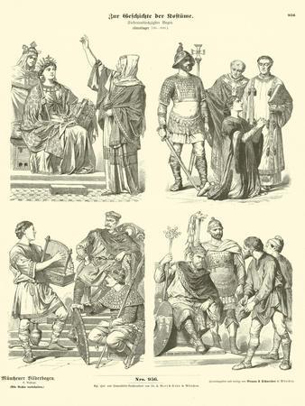Carolingian Frankish Costumes, 8th Century--Framed Giclee Print