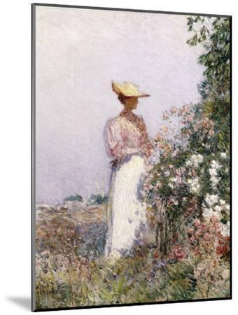 Lady in Flower Garden-Childe Hassam-Mounted Giclee Print