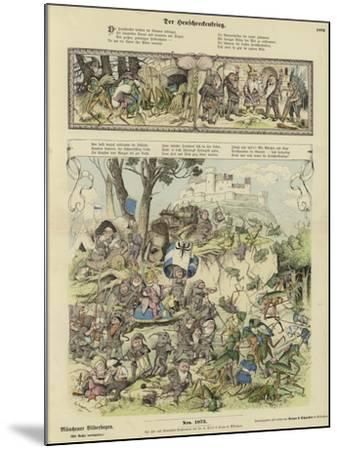 War Between Gnomes and Locusts--Mounted Giclee Print