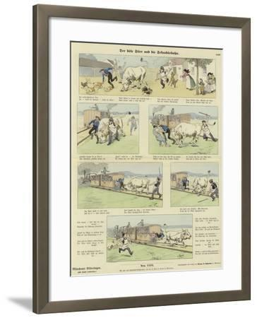 The Angry Bull and the Railway--Framed Giclee Print