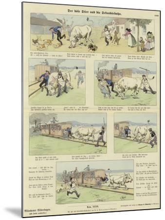 The Angry Bull and the Railway--Mounted Giclee Print