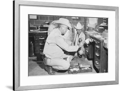 Texas Rangers Investigating a Crime Scene, C.1970--Framed Photographic Print
