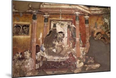 India, Fresco in Ajanta Caves--Mounted Photographic Print